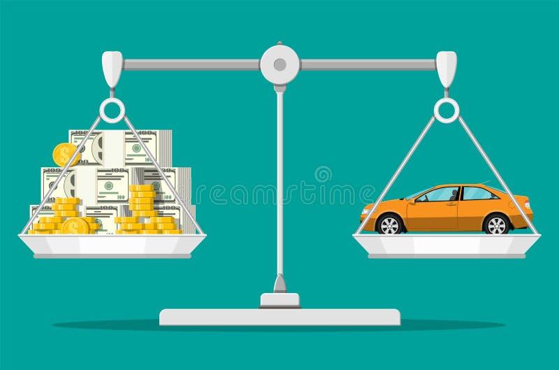 与金钱和汽车的平衡标度 向量例证
