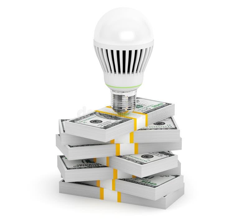 与金钱堆的电灯泡 库存例证