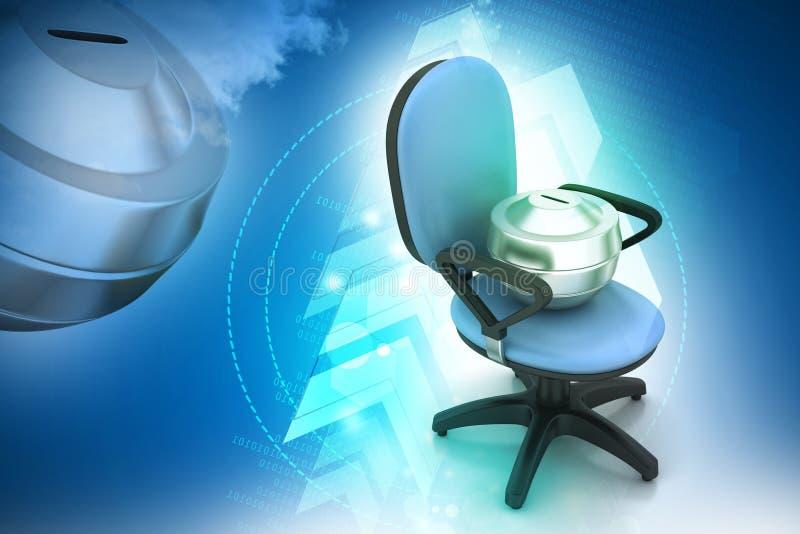 与金钱容器的行政椅子 向量例证