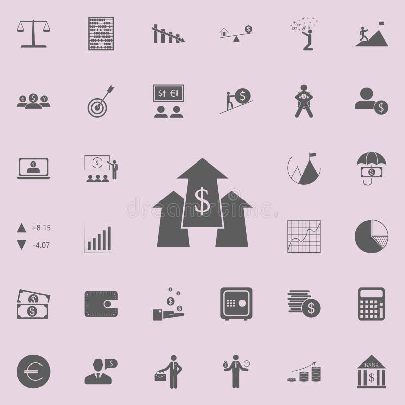 与金钱标志象的箭头 详细的套财务象 优质质量图形设计标志 其中一个w的汇集象 向量例证