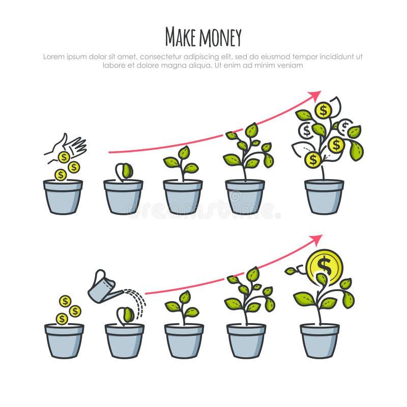 与金钱树和商人手的投资过程 投资和财政企业成长概念 例证 库存例证