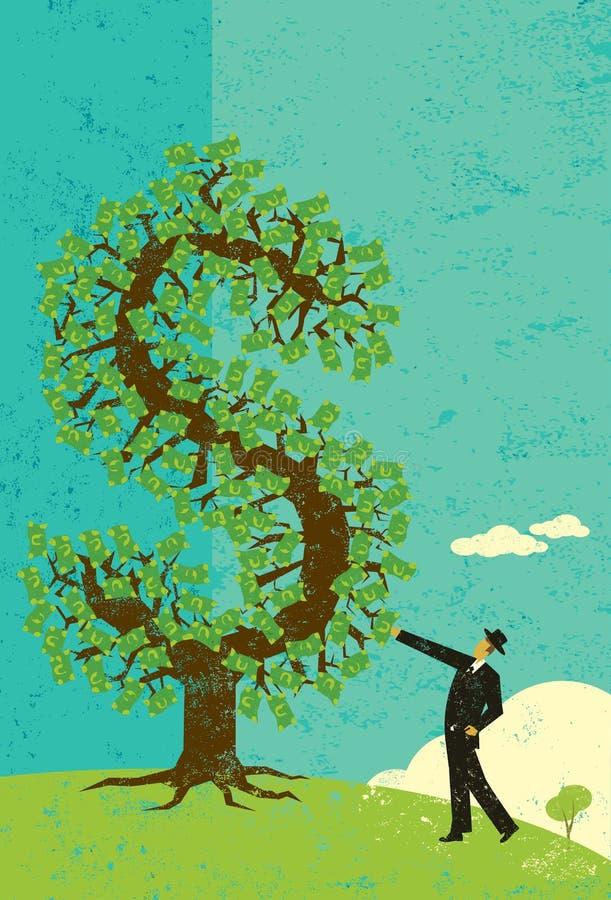 与金钱树的商人 库存例证
