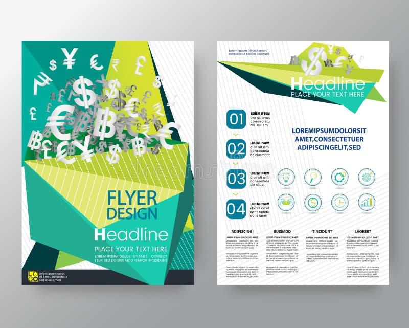 与金钱样式的抽象绿色低多角形 小册子年终报告盖子飞行物海报在A4大小的设计版面模板 向量例证