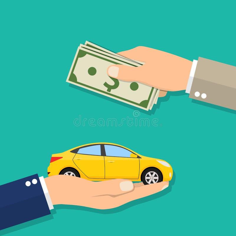 与金钱的买汽车的商人的手 皇族释放例证