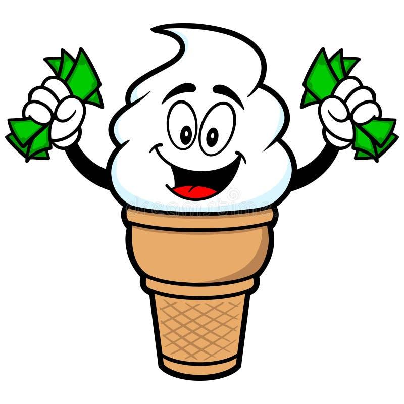与金钱的冰淇凌 库存例证