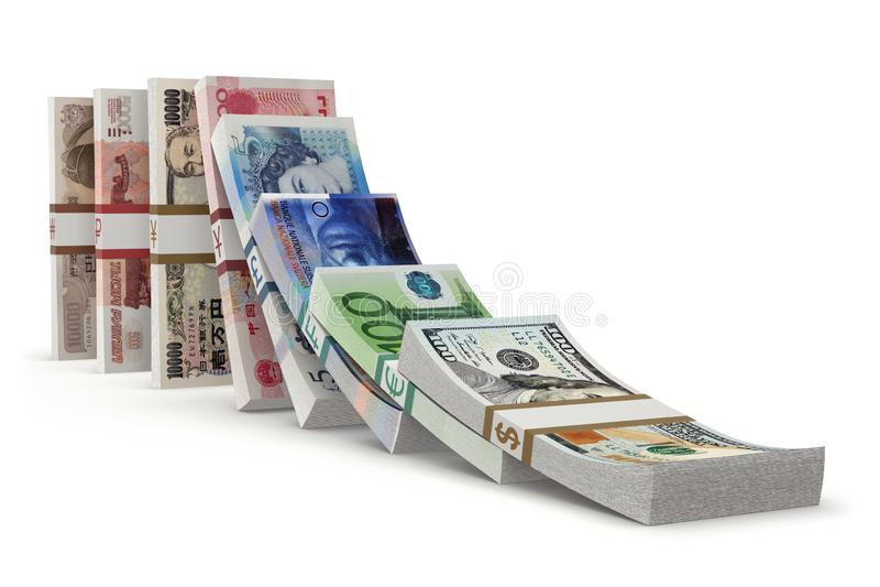 与金钱的多米诺作用 库存例证