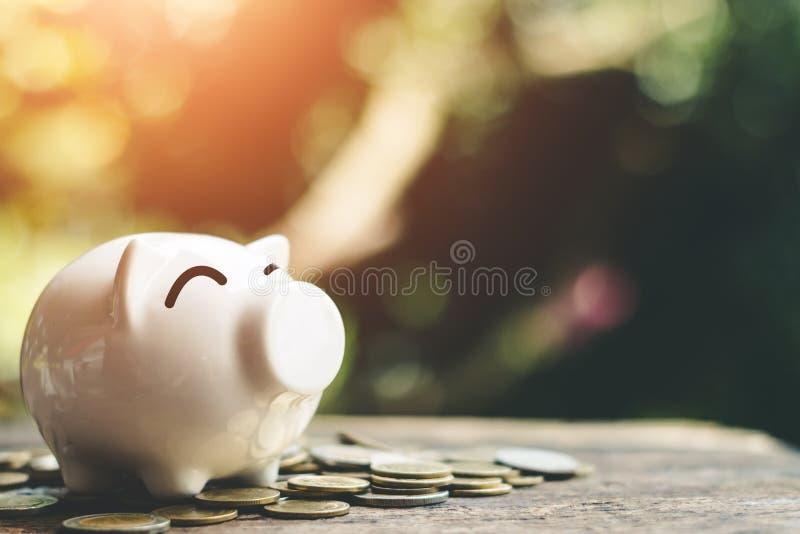 与金钱的存钱罐硬币堆积步成长挽救金钱 库存图片