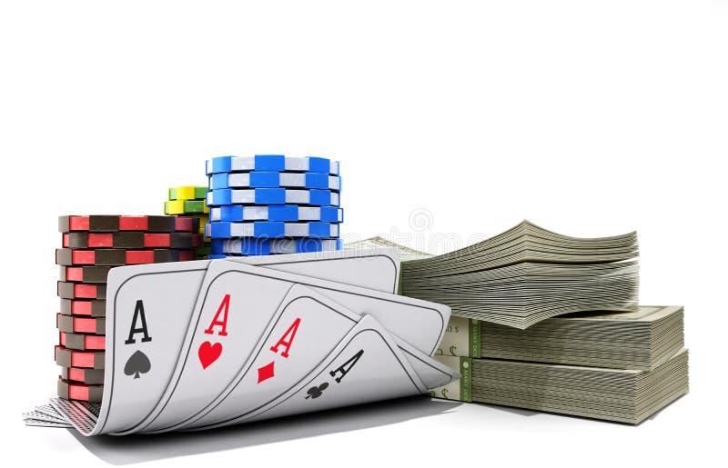与金钱的赌博娱乐场在白色现实3d的芯片和卡片回报o 向量例证