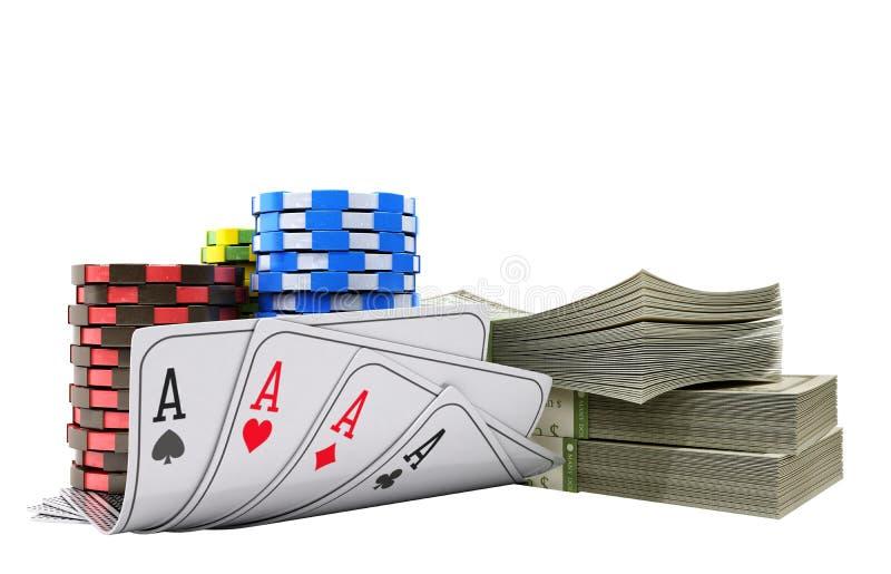 与金钱的赌博娱乐场在白色现实3d的芯片和卡片回报o 库存例证