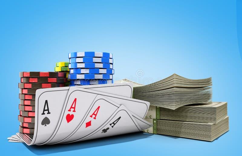 与金钱的赌博娱乐场在蓝色现实3d的芯片和卡片回报ob 皇族释放例证
