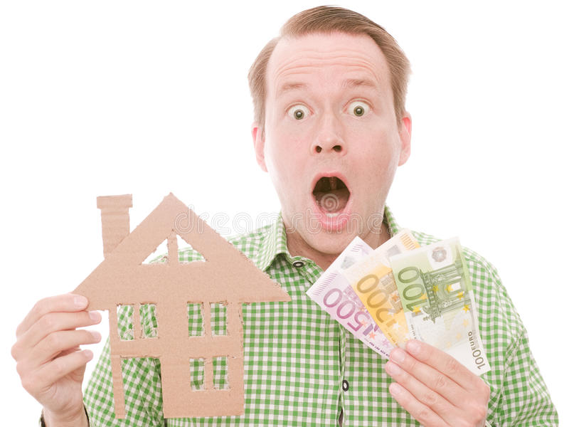与金钱的震惊houseowner 免版税库存照片