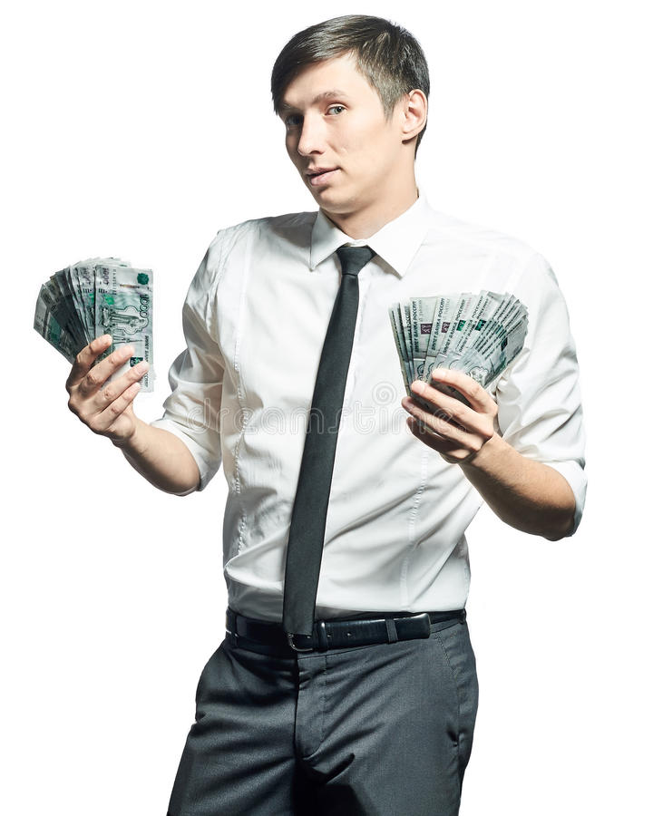 与金钱的年轻商人 库存图片