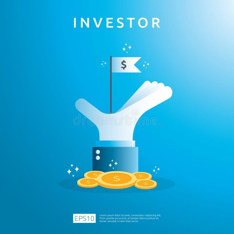 与金钱硬币和成功标志旗子的财政企业投资者资助概念在一臂之力例证 E 库存例证