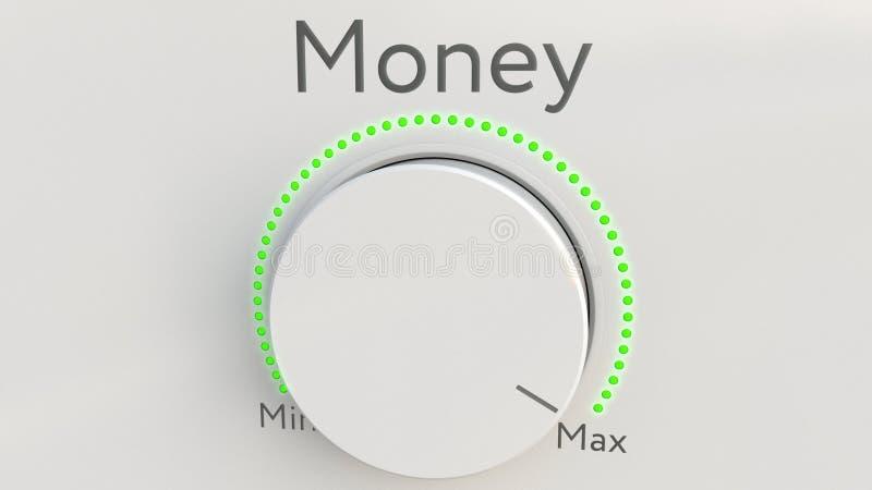 与金钱题字的转动的白色高科技瘤从极小值到最大值 3d概念性翻译 向量例证