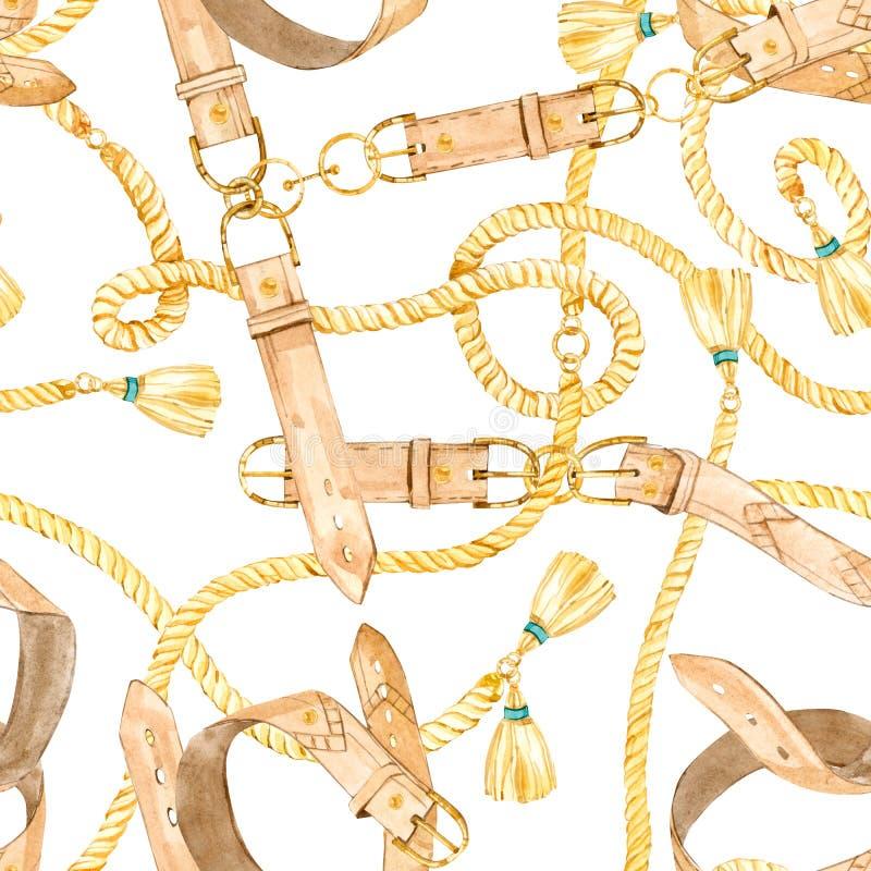 与金链子的水彩无缝的样式;传送带和皮革绳索 皇族释放例证