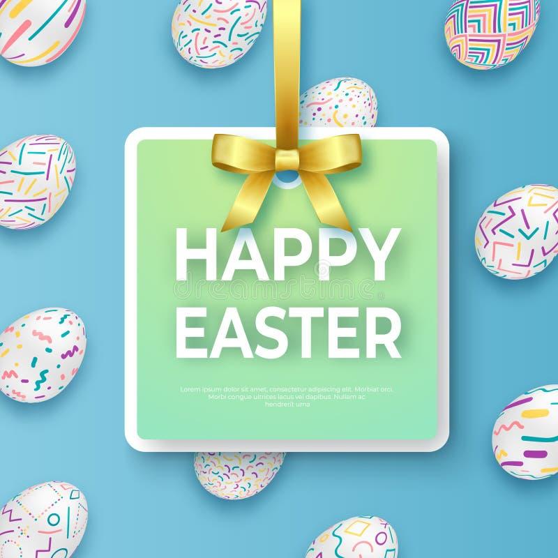 与金黄丝带、弓和华丽鸡蛋的愉快的复活节模板 导航卡片用在蓝色背景的华丽鸡蛋 向量例证