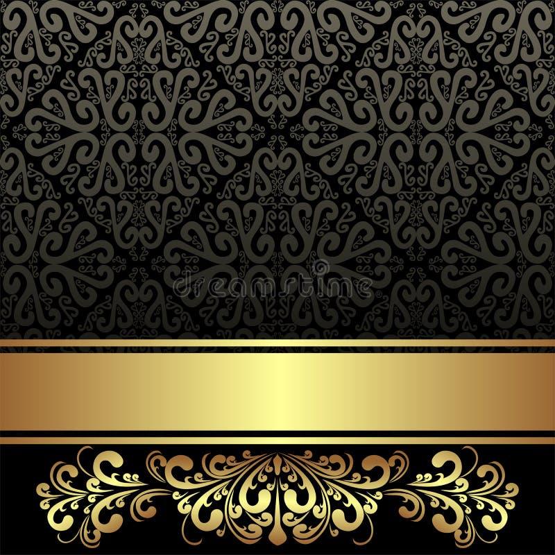 与金黄丝带和花卉边界的典雅的黑装饰背景 向量例证