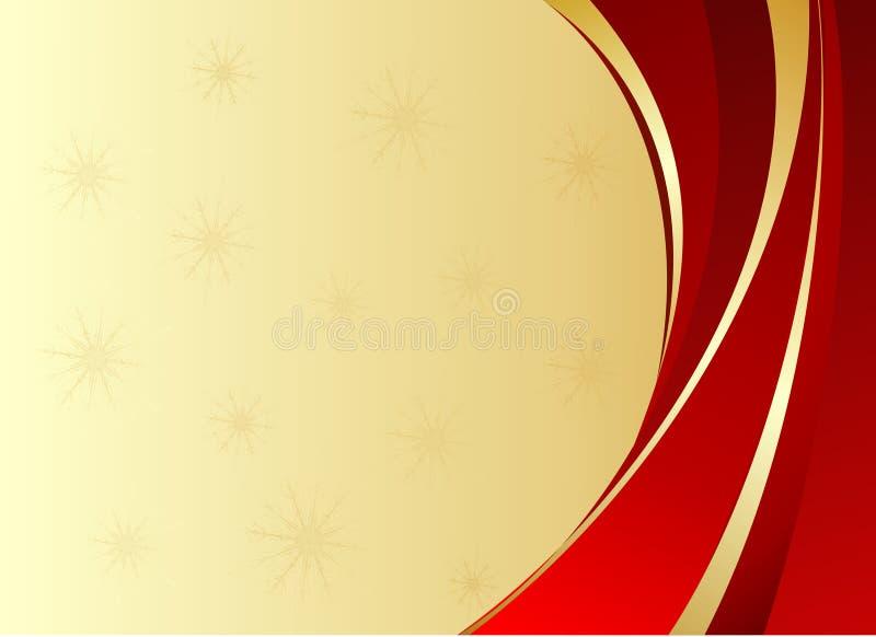 与金黄丝带的红色圣诞节背景 皇族释放例证