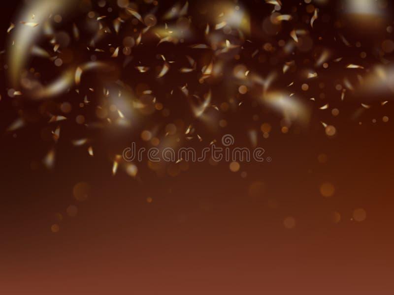 与金黄五彩纸屑和bokeh的被弄脏的模板 10 eps 向量例证