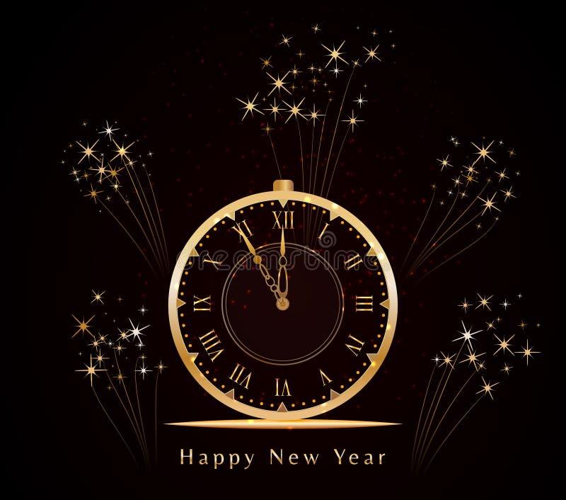 与金黄光亮的葡萄酒时钟和火花烟花的新年快乐背景 五分钟对半夜12点 皇族释放例证