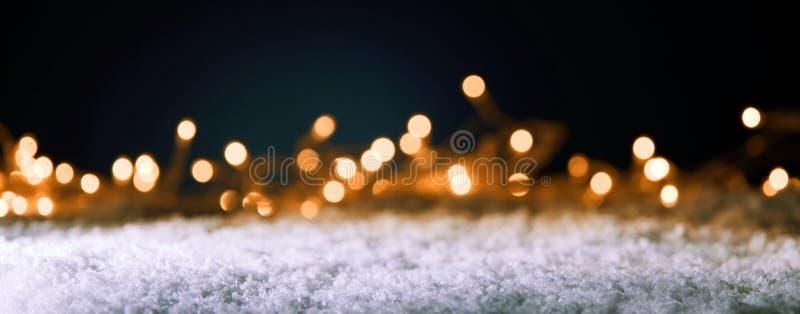 与金黄党光的圣诞节横幅 免版税库存照片