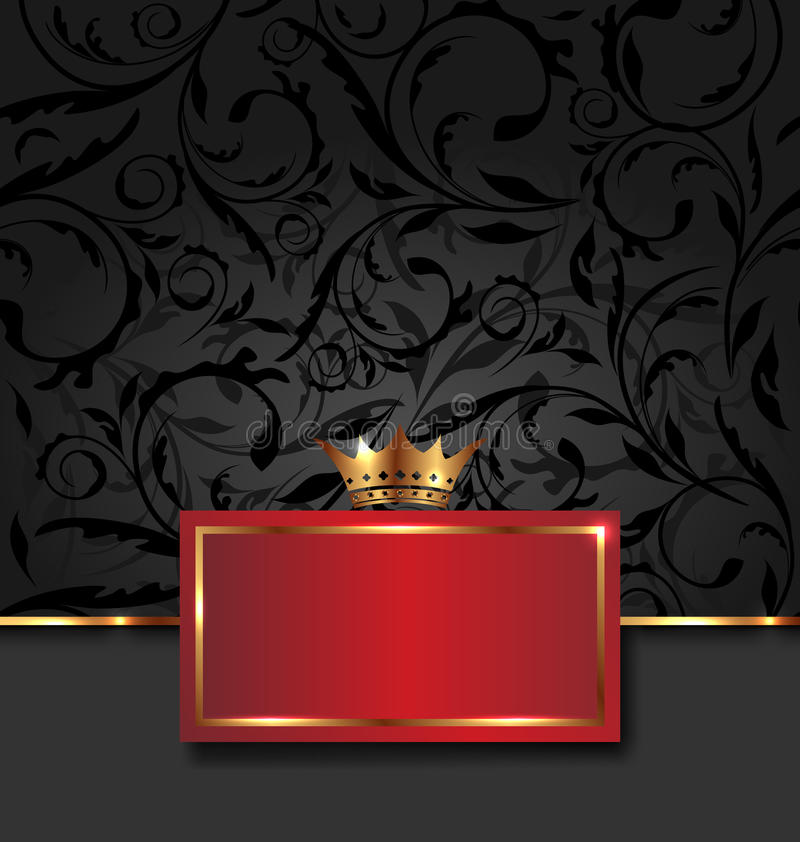 与金黄冠的华丽装饰框架 皇族释放例证