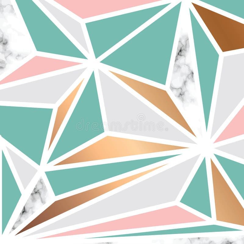 与金黄几何形状的传染媒介大理石纹理设计,黑白使有大理石花纹的表面,现代豪华背景 库存例证