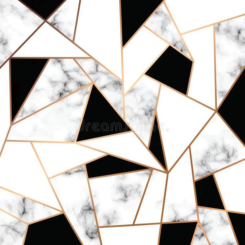 与金黄几何线的传染媒介大理石纹理设计,黑白使有大理石花纹的表面,现代豪华背景 皇族释放例证