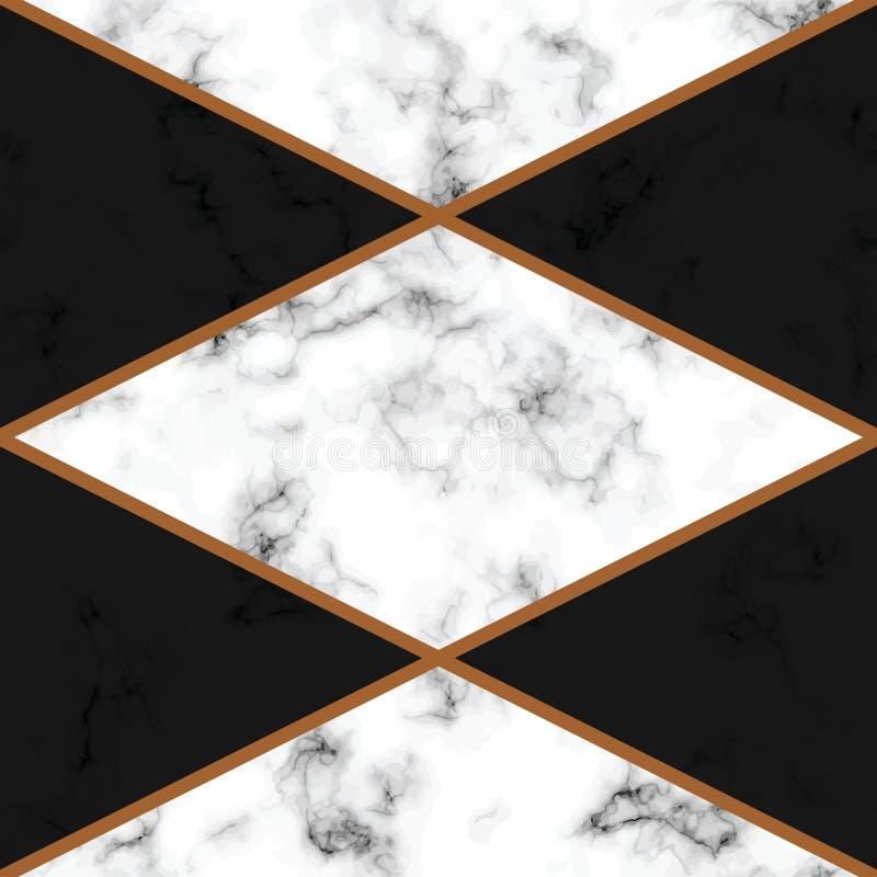 与金黄几何线的传染媒介大理石纹理设计,黑白使有大理石花纹的表面,现代豪华背景 库存例证