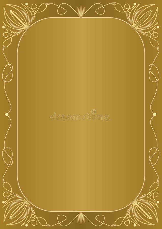 与金黄压印的框架的典雅的异常的金黄背景在艺术装饰样式 证明的典雅的异常的文件设计, d 库存例证