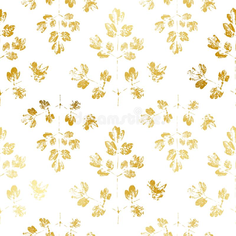 与金黄叶子的无缝的样式 皇族释放例证