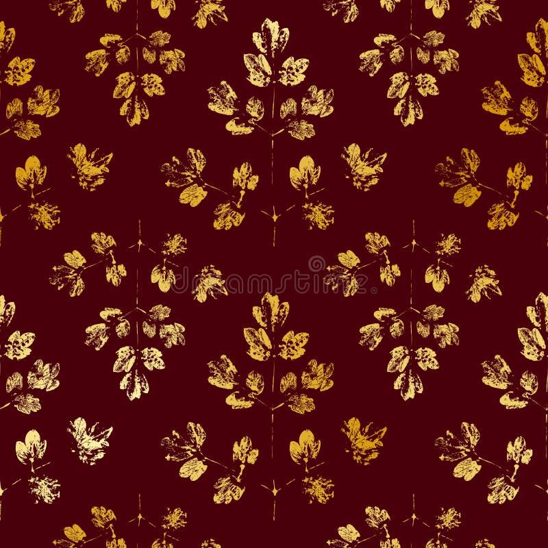 与金黄叶子的无缝的样式 向量例证