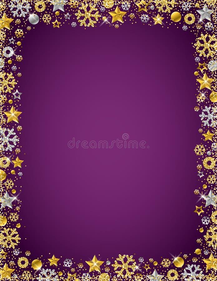 与金黄和银色glitteri边界的紫色圣诞卡片  向量例证