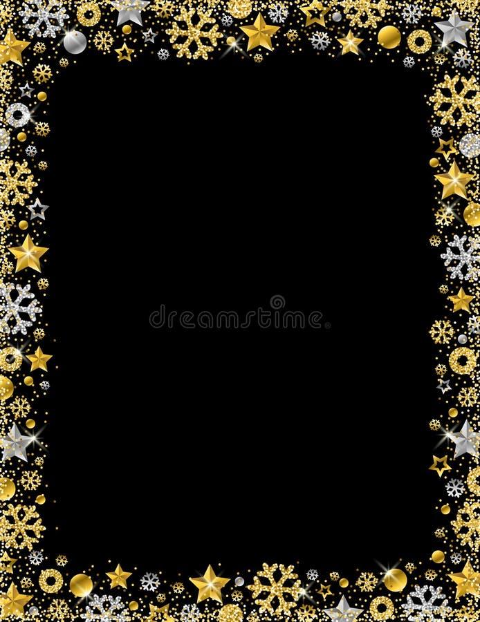 与金黄和银色glitterin边界的黑圣诞卡片  皇族释放例证
