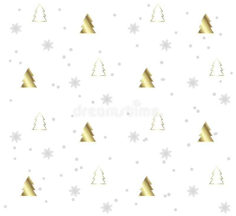 与金黄圣诞树的白色无缝的样式 库存例证