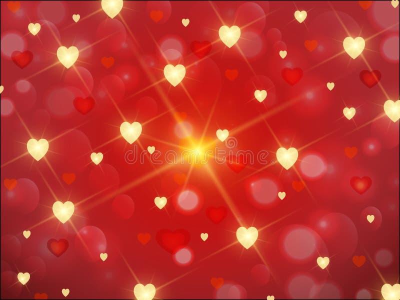 与金黄心脏和星的红色背景 向量例证