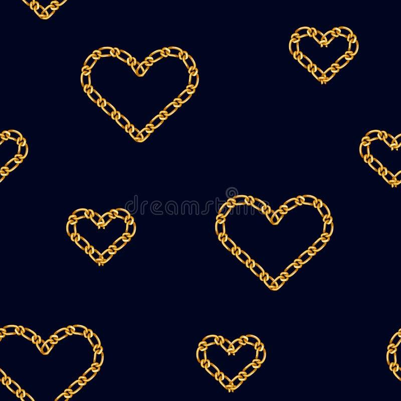 与金黄心脏链子的无缝的样式 时尚印刷品的金黄链装饰品 库存例证