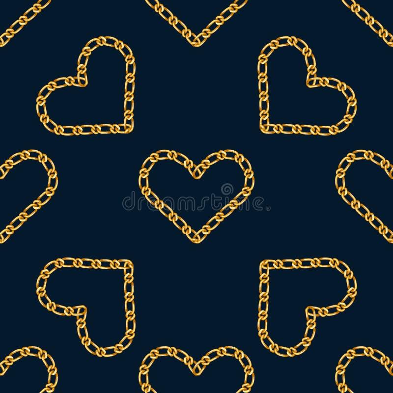 与金黄心脏链子的无缝的样式 时尚印刷品的金黄链装饰品 向量例证