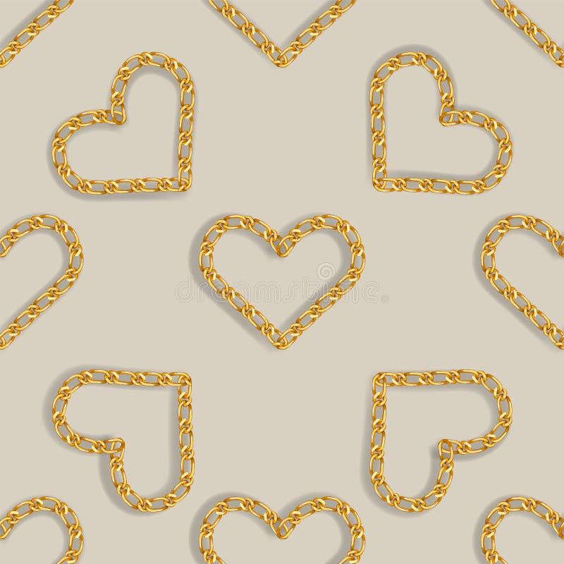 与金黄心脏链子的无缝的样式 时尚印刷品的金黄链装饰品 皇族释放例证