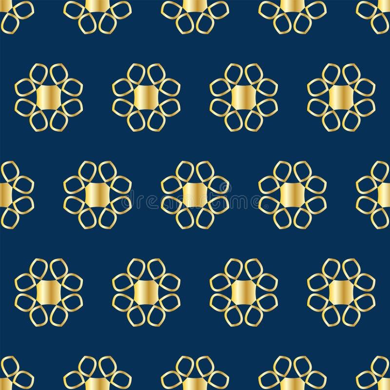 与金黄抽象花的无缝的样式在蓝色背景 库存例证