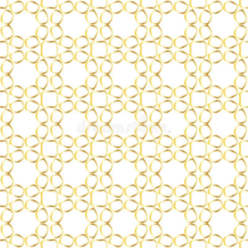 与金黄抽象花鞋带的无缝的样式在白色背景的 库存例证