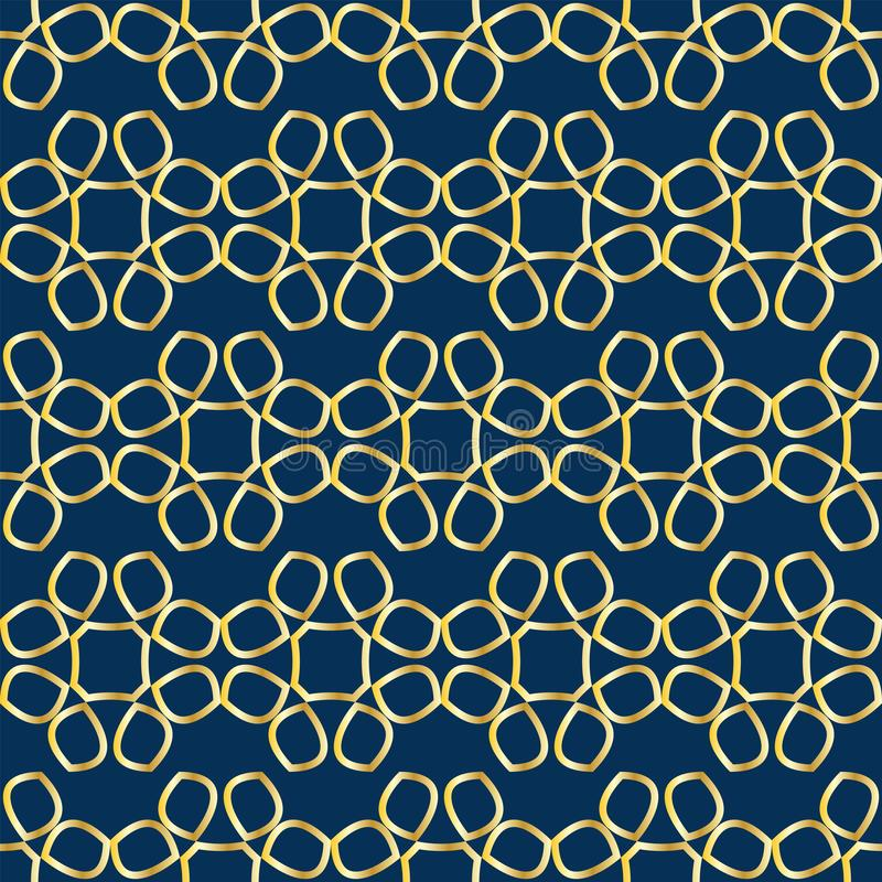 与金黄抽象花鞋带的无缝的样式在蓝色背景的 皇族释放例证