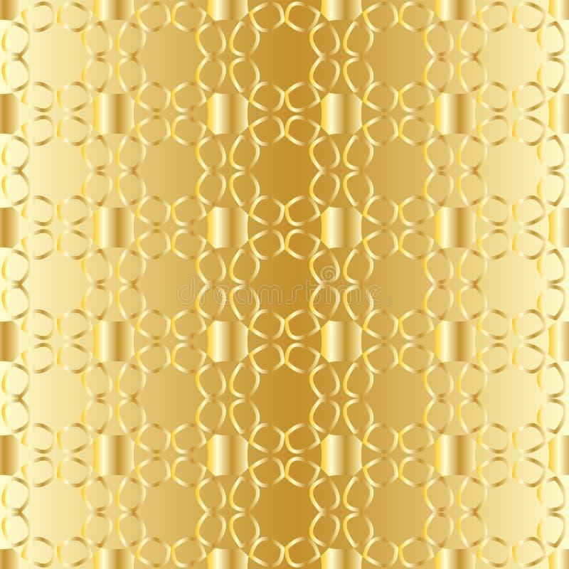 与金黄抽象花鞋带的无缝的样式在金黄背景的 向量例证