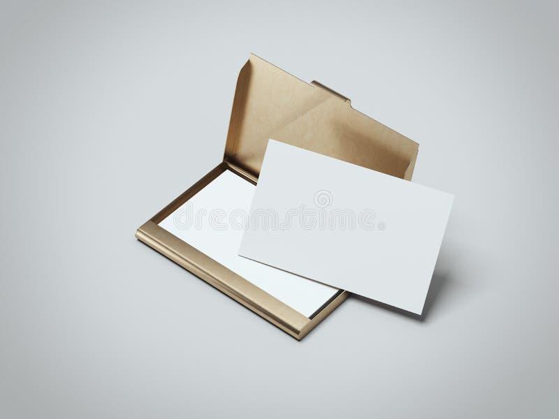 与金黄持有人的白色名片 3d翻译 皇族释放例证