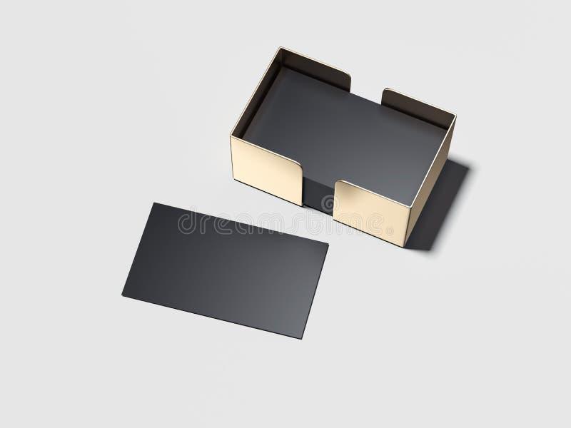 与金黄持有人的空白的黑名片 3d翻译 向量例证