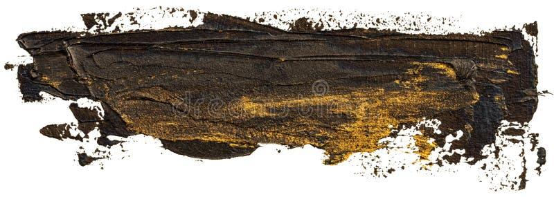 与金黄斑点的黑色上油纹理手油漆 向量例证