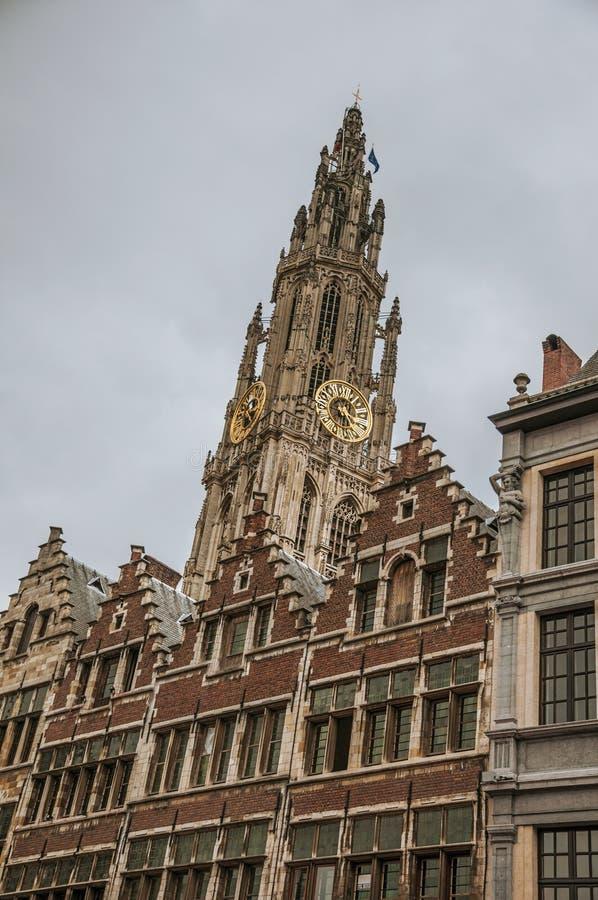 与金黄时钟的哥特式钟楼和典型的大厦在多云天在安特卫普图片
