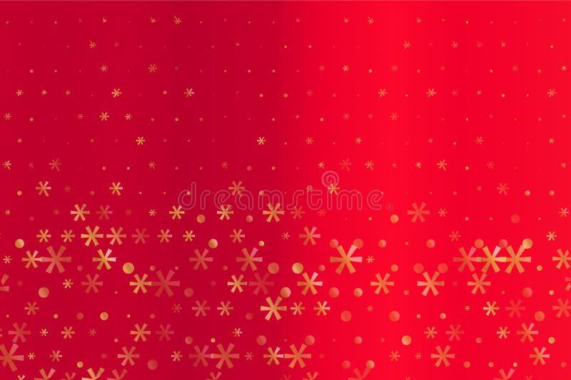 与金黄星和雪花的冬天样式在红色被弄脏的背景 可升级的向量图形 皇族释放例证