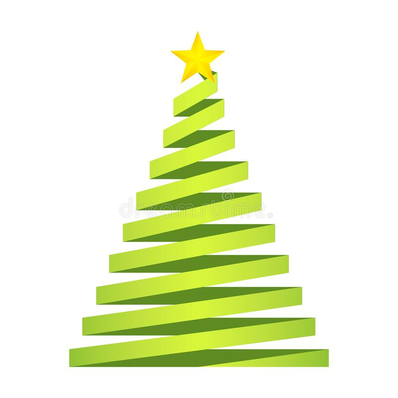 与金黄星的绿色圣诞树在从纸带的上面 库存例证