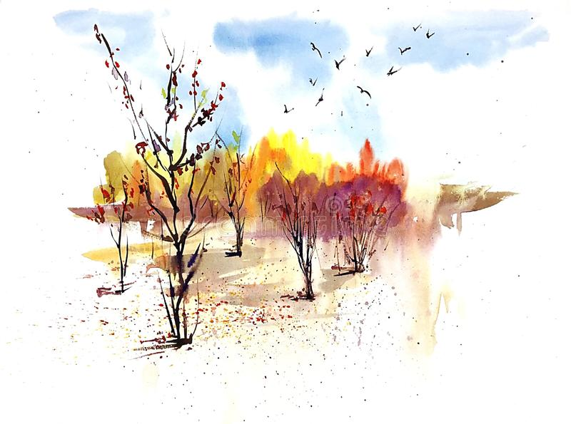 与金黄树和蓝天的水彩晴朗的秋天风景 皇族释放例证